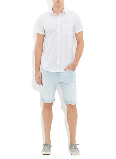 Baskılı Gömlek-Mavi